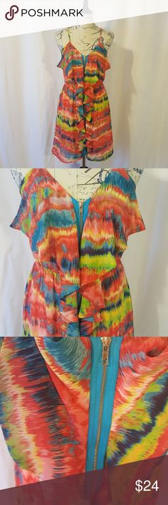 Multi colored dress Absolutely adorable multi colored dress. I bought this dress for a specific event and never wore it again. I wear more solids than prints. Its a great light weight summer dress. It zips from bottom to top with a bright blue zipper thay compliments the dress perfectly. Pink Owl Dresses