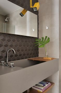 Grey tiles and a grey vanity with a large deep sink set the tone for this modern bathroom. A pop of color has been added with the use of a single yellow light. Wood Interior Design, Apartment Interior Design, Bathroom Interior Design, Modern Interior, Large Bathroom Sink, Bathroom Sink Design, Modern Bathroom Design, Bathroom Vanities, Bathroom Designs