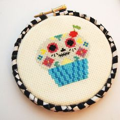 Day of the Cupcake 4inch 10cm Cross Stitch  Ready by glamasaurus