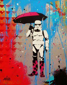 http://meriamber.tumblr.com/ art artwork umbrella boots robot droid banksy street art graffiti