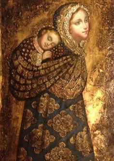 Madonna and Child Peruvian Style- I love that this shows Mary as a baby-wearing mama ❤️ Blessed Mother Mary, Divine Mother, Blessed Virgin Mary, Religious Images, Religious Icons, Religious Art, Madonna Und Kind, Madonna And Child, Madona