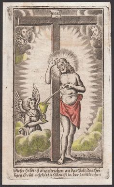 Vintage holy card depicting the Blood of Christ