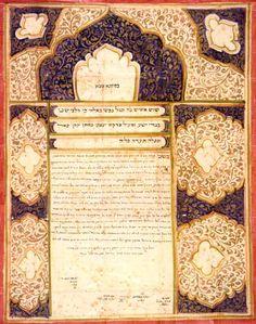 Jews in 1839 Meshed were forced to convert to Islam, but secretly lived as Jews.  This Meshed ketubah suggests a Persian prayer rug, but by being in Hebrew and Aramaic, represents mute evidence of the power of the Jewish spirit to resist pressure that threatens survival. Fifty years later, at a Jewish wedding, this ketubah expressed Jewish survival & commitment to Jewish continuity. (Ketubah, Meshed, Persia, 1889, Hebraic Section, Library of Congress Photo).