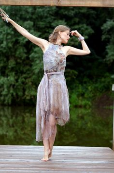 Eco fashion dresses  Nuno felted and eco printed dress  by vilte, $669.00