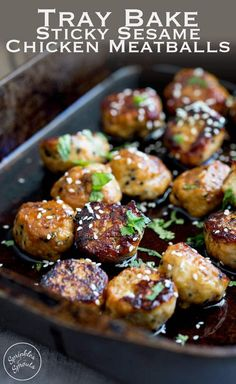 Sweet sticky and delicious. These tray baked sticky sesame chicken meatballs are packed with flavour and bake easily in the oven for a perfect week night meal or serve with cocktail sticks for a perfect party appetizer. Recipe by Sprinkles and Sprouts Meatball Recipes, Meat Recipes, Appetizer Recipes, Chicken Recipes, Dinner Recipes, Cooking Recipes, Healthy Recipes, Appetizers, Recipies