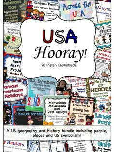 USA Hooray - History and Geography Bundle Teaching Activities, Teaching Resources, Teaching Ideas, Usa Facts, Teaching American History, Teachers Corner, Social Studies Resources, World Geography, Study History
