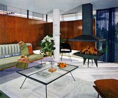 Mid Century Modern Wallpaper | Remarkably Retro, Mid-century modern living room by architect Rufus...