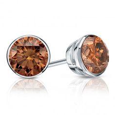14k White Gold Bezel Round Brown Diamond Stud Earrings 0.33 ct. tw. (Brown, SI1-SI2)