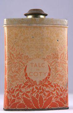 "1920s Antique unique rare ""Talc de Coty"" Perfume talcum tin, Emeraude, talc powder - SOLD"