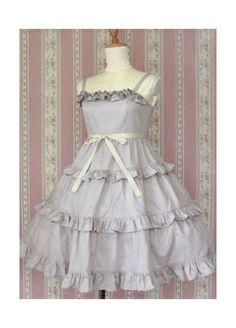 Lilac Spaghetti Straps Multi layer Cotton Classic Lolita Dress Lolita clothes