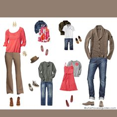 Deciding what to wear in family photos may be the hardest part. Use these examples to get your juices flowing to make the process a little easier.not the guys outfit Family Photos What To Wear, Fall Family Photos, Family Pictures, Family Photo Colors, Family Picture Outfits, Bild Outfits, Clothing Photography, Family Photography, Photography Guide