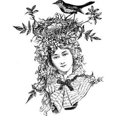Aviary Princess Wood Mounted Stamp by Sandra Evertson