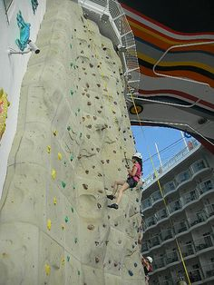 Rock climbing on the Allure of the Seas cruise ship. Gives a whole new meaning to sea cliff climbing! #rock #urban #climbing