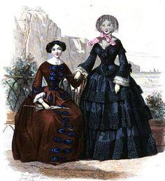 1853.  Le Moniteur de la mode.  Interesting bow variation.  Superabundance of small pleats in rows.