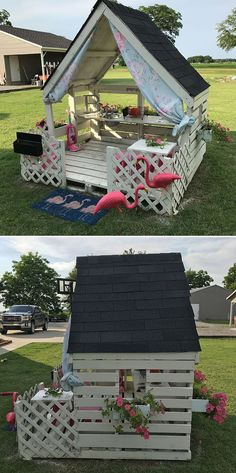 Wood Pallet Projects - Garden pallet playhouse<br> Wood Pallet Projects shows how anyone can upcycle salvaged pallet wood to create stylish and well suited furniture and accessories for home in cheaper way. Backyard Playground, Backyard For Kids, Backyard Projects, Diy Pallet Projects, Outdoor Projects, Home Projects, Pallet Playground, Play House Outdoor Kids, Kids Outdoor Playhouses