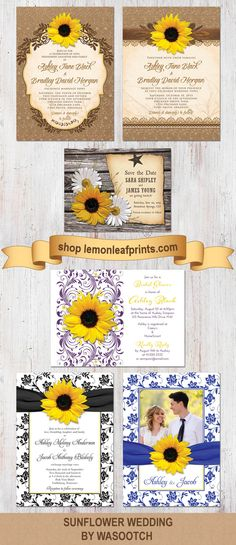 A selection of Wasootch's sunflower wedding invitations, save the date invitations, and bridal shower invitations available on http://lemonleafprints.com  #weddings #sunflowers #sunflower #wedding #invitations