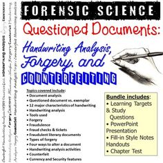 This bundle includes all products from my Forensic Science Questioned Documents Unit.This bundle includes:• Learning Targets and Study Questions• PowerPoint Presentation• Fill-in Style Notes Handouts• Chapter Test*Vocabulary Assignment is sold separately in the Forensic Science Vocabulary Bundle.Top... Science Vocabulary, Vocabulary Words, Learning Targets, Handwriting Analysis, Forensic Science, Forensics, Fill, Presentation, Notes