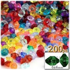 Plastic beads, Rondelle Transparent, 6x4mm, 200-pc, Multi Mix