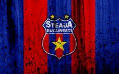 Download imagens 4k, O FC Steaua Bucareste, grunge, Liga romena, Liga Eu, futebol, clube de futebol, Roménia, O Steaua Bucareste, logo, textura de pedra, O Steaua Bucareste FC