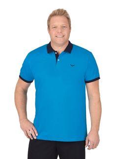 TRIGEMA Zweifarbiges Poloshirt - Slim Fit ab 49,50€. 100 % Baumwolle, Ringgarn supergekämmt, Halbarm, Kragen mit Knopfleiste, Kontrastfarbige Ziernähte bei OTTO