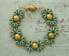 Linda's Crafty Inspirations: Bracelet of the Day: Duo Candy - Turquoise & Gold