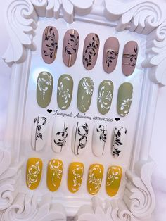 Colorful Nail Designs, Simple Nail Designs, Beautiful Nail Designs, Acrylic Nail Designs, Swirl Nail Art, 3d Nail Art, Cool Nail Art, Nail Art Arabesque, Nail Art Wheel