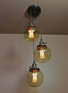 3 Light Chandelier  Triple Pendant Lights  6 inch Amber Glass