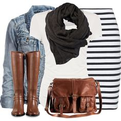 my striped skirt, tee, scarf, denim jacket, and boots. Can do tights w/ ankle boots. Also flats or sandals.