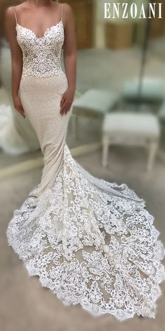 Customized Comely Lace White Wedding Dresses Sexy Straps Mermaid White Lace Long Wedding Dress With Train Wedding Dresses Size 14, Luxury Wedding Dress, Designer Wedding Dresses, Lace Wedding, Wedding Dress Finder, Stunning Dresses, Sexy Dresses, Evening Dresses, Homecoming Dresses