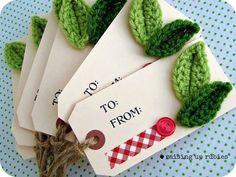 """Hand Stamped """"To and From"""" tags/ Christmas Gift Tags - Crochet Embellishment - set of 6 Christmas Gift Wrapping, Christmas Tag, Christmas Crafts, Christmas Decorations, Christmas Room, Crochet Home, Crochet Gifts, Craft Gifts, Diy Gifts"""