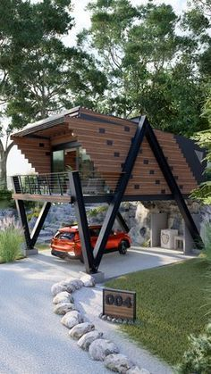 Container House Plans, Container House Design, Small House Design, Modern House Design, Modern Tiny House, Tiny House Cabin, Tiny House Living, Casas Containers, A Frame House
