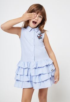 Conguitos lookbook SS18, colección de moda para niñas Frocks For Girls, Kids Frocks, Little Dresses, Little Girl Dresses, Girls Dresses, Dress Anak, Baby Dress Patterns, Cute Outfits For Kids, Toddler Dress