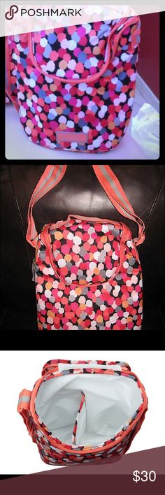 Vera Bradley Pixie Confetti Double Cooler Bag NWOT Vera Bradley Pixie Confetti Double Cooler Bag... NWOT, never used, can be used as a lunch bag... or it's big enough to hold two bottles of wine  comes with long strap for easy carrying Vera Bradley Bags Totes