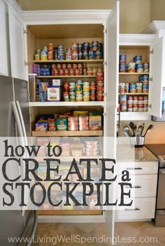Building up a reserve of food in your pantry is one of the keys to saving big on groceries.  Don't miss these great tips & video for how to create a stockpile!