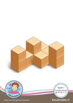 Bouwkaart 9 moeilijkheidsgraad 3 voor kleuters, kleuteridee, Preschool card building blocks with toddlers 9, difficulty 3, free printable