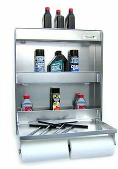 """Aluminum Work Station Storage Cabinet Trailer Shelf by Pit Posse. $129.99. Pit Posse Senior Work Station.  Great trailer or shop accessory.  Spring loaded paper towel tensioner.  Locking pin to keep try up during travel.  Holds 18 aerosol cans and 10 oil quarts.  14"""" x 24"""" flip-out work tray.  25"""" x 6"""" x 30"""".  constructed from .090 aluminum."""