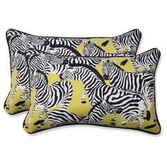 • Polyester with polyurethane foam fill<br>• Fade, UV and weather resistant<br>• Includes 2 pillows<br><br>The Pillow Perfect Herd Together Wasabi Outdoor Decorative Pillow Set in Yellow brings a playful zebra design to your outdoor living space. This set of 2 pillows will invite your guests to sit and stay awhile. Choose from 2 sizes.