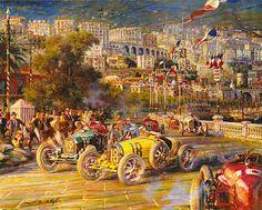Monaco Grand Prix 1929, Bugatti Typ 35 motorsport art print by Alfredo De la Maria
