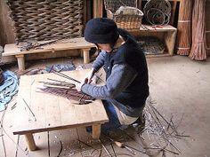 Kelly Wilson working in her studio, Vancouver Island willow basket maker