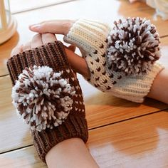 Fun 2 Color Pom Fingerless Gloves - Coffee//White