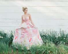 A popular McCants style bodice and ballgown skirt in hand painted floral fabric