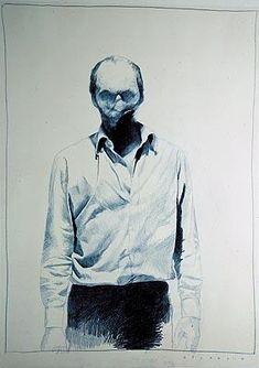 """Gottfried Heinwein: """"White Lie"""" (1993), colored pencil on paper, 86 x 62 cm, 33 x 24"""""""