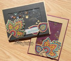 handmade shajer cards ... Stampin' Up Lighthearted Leaves colored as mosaics in bright colors ...