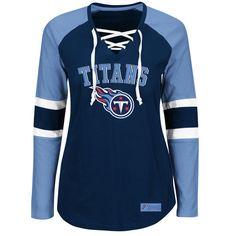 best service 285ec 9be51 Majestic Tennessee Titans Women s Navy Light Blue Winning Style Long Sleeve  T-Shirt