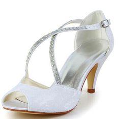 "Gorgeous Women's Wedding Shoes With Rhinestones and Cross-Straps Design Color: WHITE, BEIGE, CHAMPAGNE, BLACK, RED, SILVER Size: 34, 35, 36, 37, 38, 39, 40, 41, 42 Category: Wedding & Events > Wedding Shoes   Gender: Women  Pumps Type: Ankle-Wrap  Toe Style: Open Toe  Toe Shape: Peep Toe  Shoe Width: Medium(B/M)  Heel Type: Stiletto Heel  Heel Height Range: High(3-3.99"")  Embellishment: Rhinestone  Occasion: Wedding     #laceweddingshoescheap #laceshoes #weddingshoes #cheapshoes #bridgat.com"