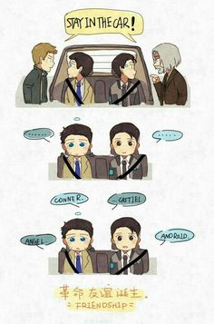 Detroit become human x Supernatural Hank and Connor, Dean and Castiel By: I wasn't the only one who thought about this lol Supernatural Crossover, Supernatural Comic, Detroit Become Human Connor, Becoming Human, Fandom Crossover, Fandoms, Film Serie, Geek Culture, Superwholock