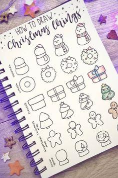 Bullet Journal Christmas, December Bullet Journal, Bullet Journal Hacks, Bullet Journal Notebook, Doodle Inspiration, Bullet Journal Inspiration, Journal Ideas, Christmas Doodles, Christmas Drawing
