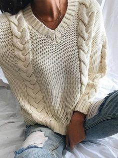 Chicnico Casual Knit V Neck Solid Color Loose Sweater