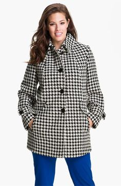 Gallery Single Breasted Houndstooth Coat (Plus) (Online Exclusive) available at #Nordstrom