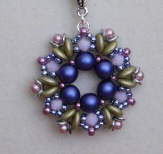 Bead, Pendant, Tutorial, Pattern, Instruction, Fairy Ring, Beadweaving, Beaded, Necklace, 2 hole lentil, Czechmates, PDF, Instant Download